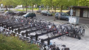 Bike rack at Leiden Lammenschans station